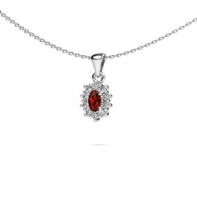 Picture of Necklace Leesa 925 silver garnet 7x5 mm