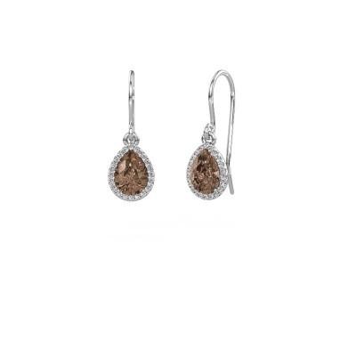 Oorhangers Seline per 375 witgoud bruine diamant 0.65 crt