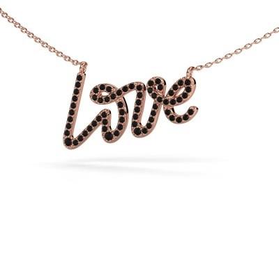 Anhänger Love 375 Roségold Schwarz Diamant 0.428 crt