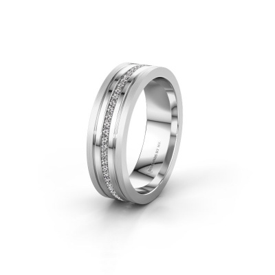 Trouwring WH0404L16A 585 witgoud zirkonia ±6x1.7 mm