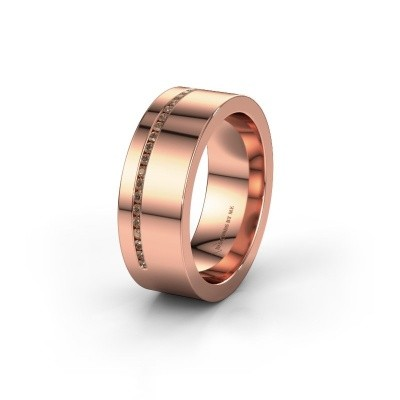 Wedding ring WH0143L17BP 375 rose gold brown diamond ±7x2 mm