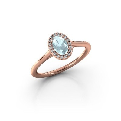 Engagement ring Seline 1 585 rose gold aquamarine 6x4 mm