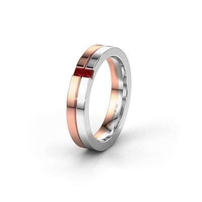 Trouwring WH0225L14B 585 rosé goud robijn ±4x2 mm