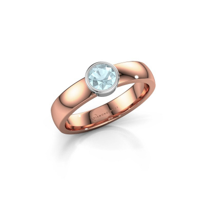 Foto van Ring Ise 1 585 rosé goud aquamarijn 4.7 mm