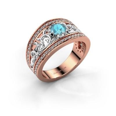 Ring Marilee 585 rosé goud blauw topaas 5 mm