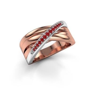 Ring Renna 2 585 rosé goud robijn 1 mm