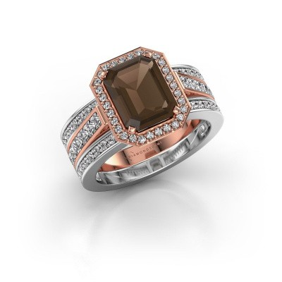 Foto van Ring Dodie 3 585 rosé goud rookkwarts 9x7 mm