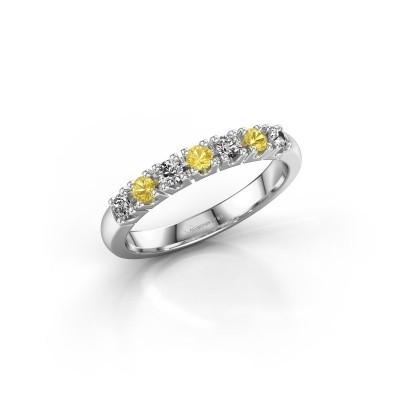 Foto van Belofte ring Rianne 7 585 witgoud gele saffier 2.4 mm