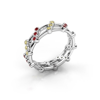 Ring Floortje 925 silver ruby 1.4 mm