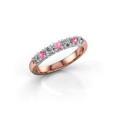 Foto van Belofte ring Rianne 7 585 rosé goud roze saffier 2.4 mm