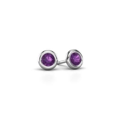 Picture of Stud earrings Lieke RND 925 silver amethyst 4 mm