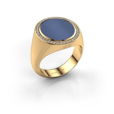 Zegelring Adam 5 375 goud blauw lagensteen 15x13 mm