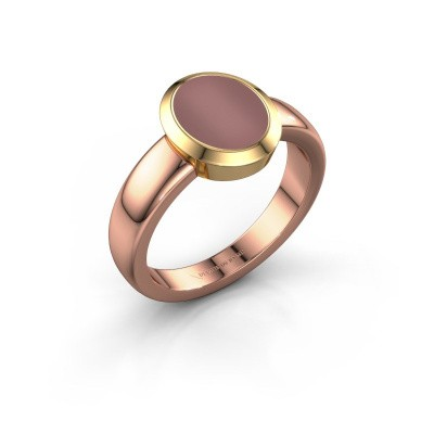 Zegelring Freeda 1 585 rosé goud carneool 10x8 mm