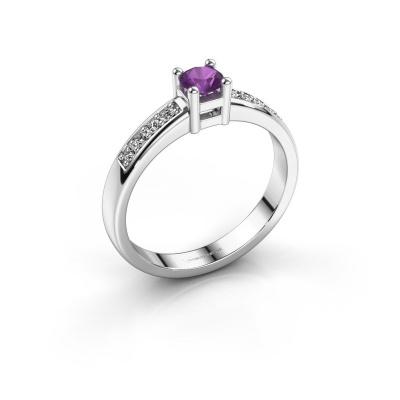 Engagement ring Eline 2 925 silver amethyst 3.7 mm