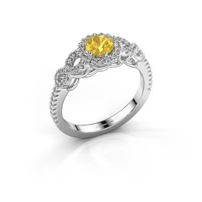 Engagement ring Sasja 925 silver yellow sapphire 5 mm