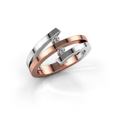 Foto van Ring Synthia 585 rosé goud zirkonia 2.5 mm