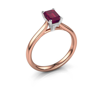 Verlovingsring Mignon eme 1 585 rosé goud rhodoliet 6.5x4.5 mm
