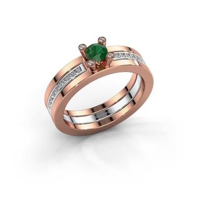 Foto van Ring Alisha 585 rosé goud smaragd 4 mm