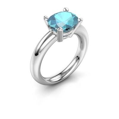 Ring Janiece 925 Silber Blau Topas 10x8 mm