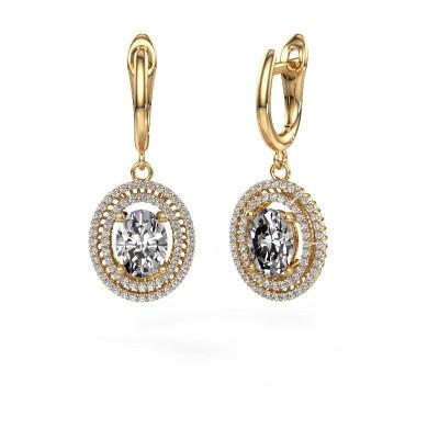 Picture of Drop earrings Karren 375 gold zirconia 8x6 mm