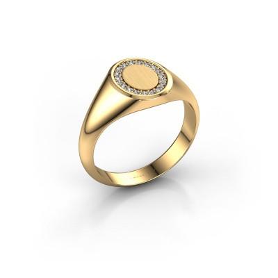 Pinky ring Floris Oval 1 585 gold zirconia 1.2 mm