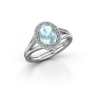 Engagement ring Rachele 1 585 white gold aquamarine 8x6 mm