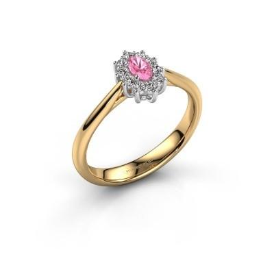 Foto van Verlovingsring Leesa 1 585 goud roze saffier 5x4 mm