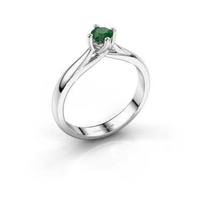 Foto van Verlovingsring Janne 585 witgoud smaragd 4.2 mm