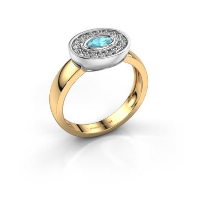 Ring Azra 585 Gold Blau Topas 5x3 mm