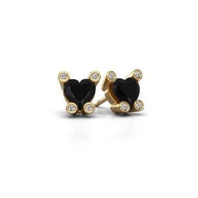 Oorstekers Cornelia Heart 585 goud zwarte diamant 1.96 crt