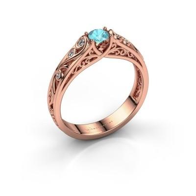 Foto van Ring Quinty 375 rosé goud blauw topaas 4 mm