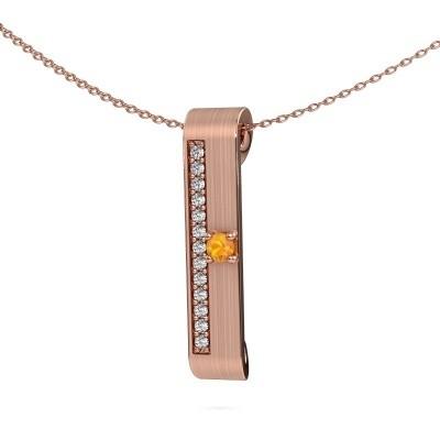 Halsketting Vicki 375 rosé goud citrien 3 mm
