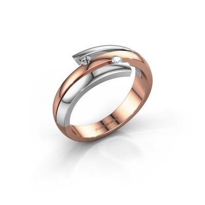 Ring Dena 585 rosé goud aquamarijn 2 mm