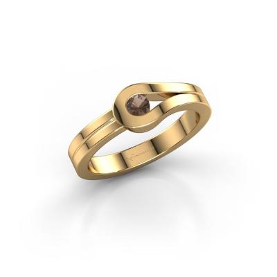 Ring Kiki 585 gold smokey quartz 3 mm