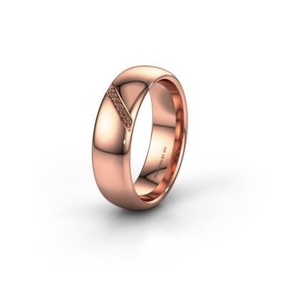 Wedding ring WH0164L36B 375 rose gold brown diamond ±0.24x0.08 in