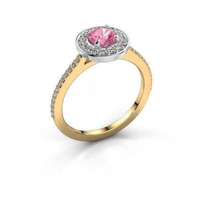 Foto van Ring Agaat 2 585 goud roze saffier 5 mm