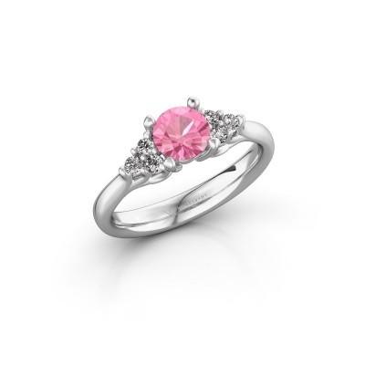Foto van Verlovingsring Monika RND 585 witgoud roze saffier 5.5 mm