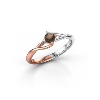 Picture of Engagement ring Paulien 585 rose gold smokey quartz 4 mm
