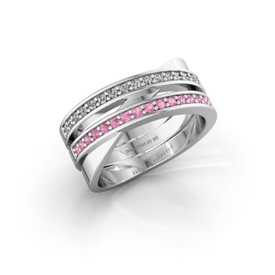 Ring Margje 585 witgoud roze saffier 1.3 mm