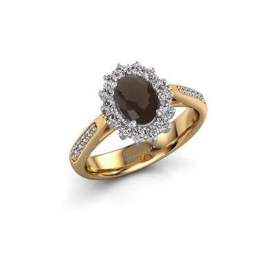 Engagement ring Margien 2 585 gold smokey quartz 7x5 mm