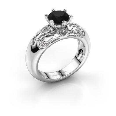 Ring Maya 585 witgoud zwarte diamant 1.405 crt