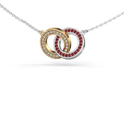 Halsketting Circles 2 585 goud robijn 1 mm