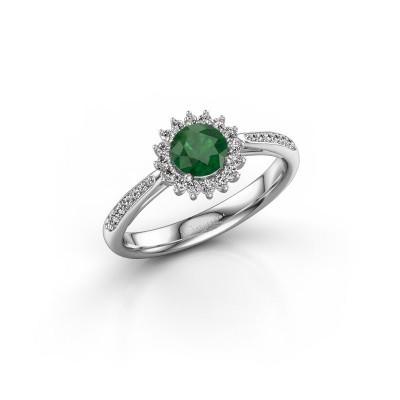 Verlovingsring Tilly RND 2 925 zilver smaragd 5 mm