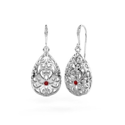 Picture of Drop earrings Idalia 2 585 white gold ruby 2 mm