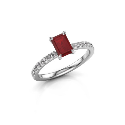 Picture of Engagement ring Crystal EME 2 585 white gold ruby 6.5x4.5 mm