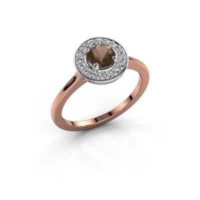 Ring Agaat 1 585 rosé goud rookkwarts 5 mm