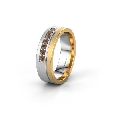 Trouwring WH0312L16AM 585 witgoud bruine diamant ±6x1.7 mm