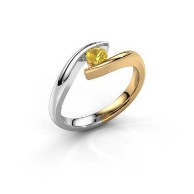 Foto van Aanzoeksring Alaina 585 goud gele saffier 4 mm