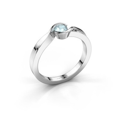 Foto van Ring Lola 585 witgoud aquamarijn 4 mm