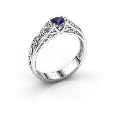 Foto van Ring Quinty 925 zilver saffier 4 mm